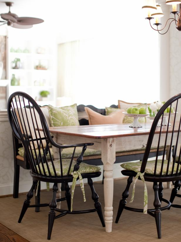 Country Dining Table With Black Windsor Chairs and Bench