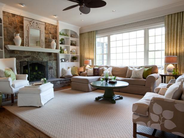Neutral Living Space With Green Accents