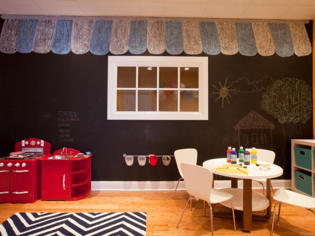Kid's Modern Playroom With Chalkboard Wall