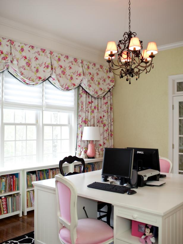 Large White Desk in Traditional Pink Tween Room