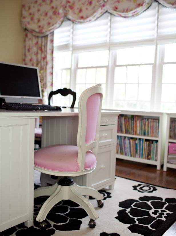 Black and White Floral Rug with Pink Office Chair