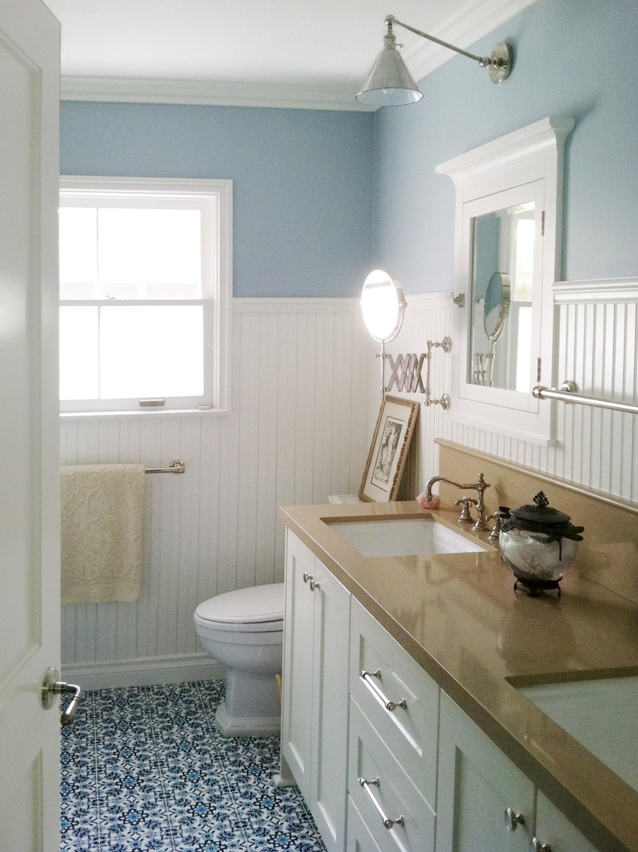 Design trend decorating with blue color palette and - Bathroom remodel ideas with wainscoting ...