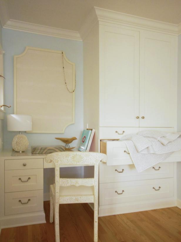 Built-In Desk and Armoire in Light Blue Bedroom