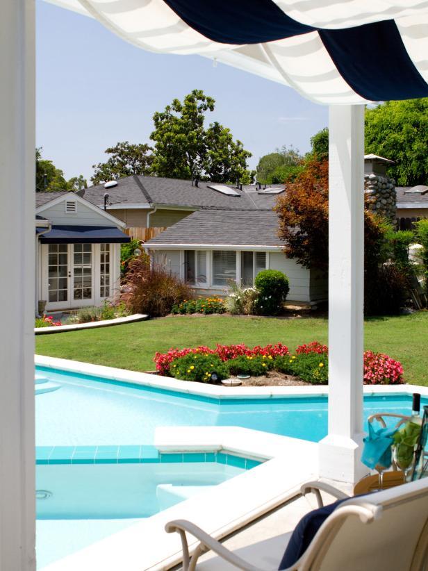 Hamptons-Inspired Backyard Pool and Patio Pergola