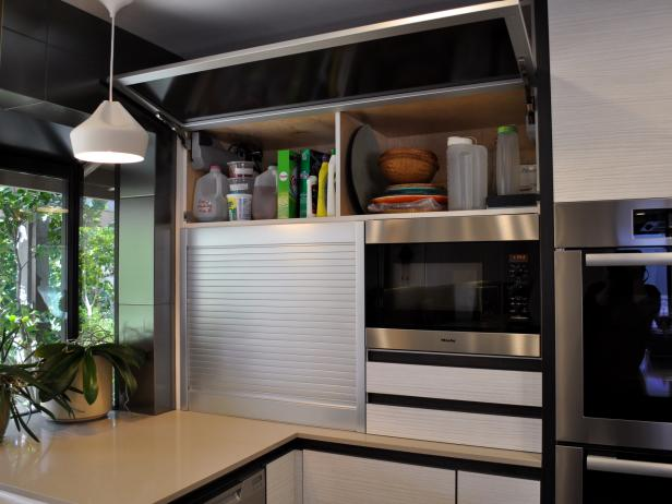 Built-in Microwave and Appliance Garage in Midcentury Style Kitchen