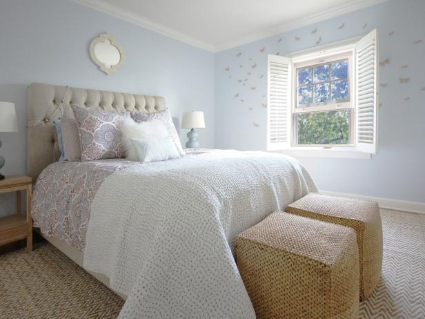 Light Blue Transitional Bedroom with White and Beige Accents