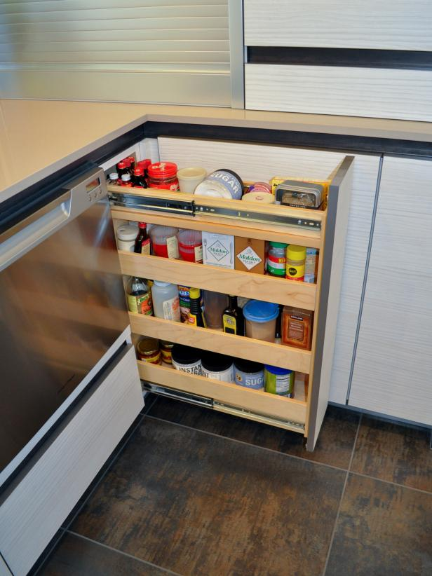 Contemporary Pullout Spice-Rack Cabinet Drawer