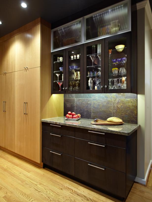 Brown Contemporary Kitchen With Glass-Door Cabinets