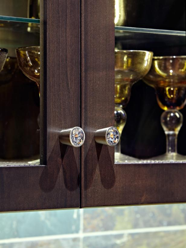 Contemporary Brown Cabinets With Crystal Knobs