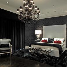 Black Bedroom With Damask Wallpaper And Black Chandelier