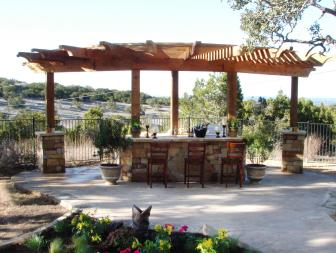 Saloon Style Bar With Curved Pergola