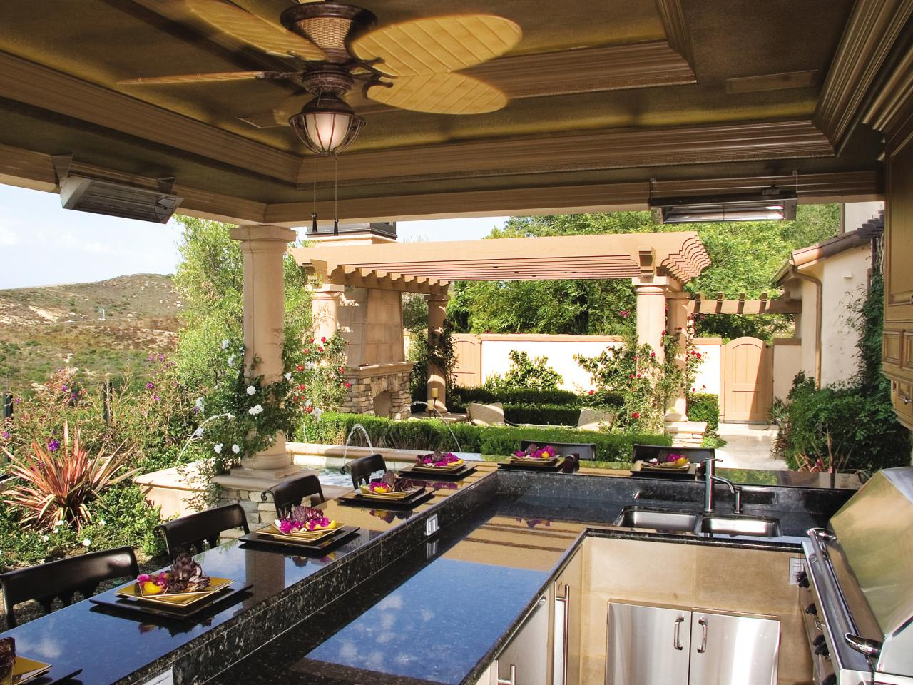 Outdoor Kitchens Designs outdoor kitchen countertops options | hgtv