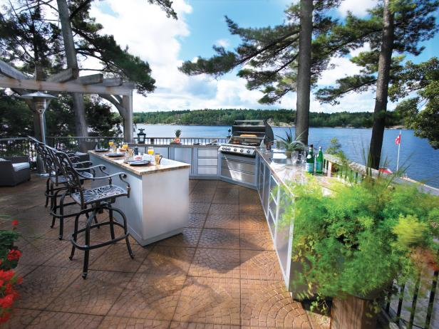 Outdoor Kitchen With Lake View