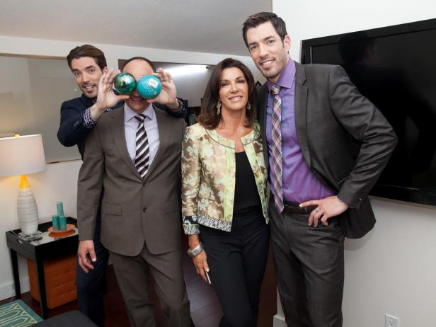 HGTV Stars Drew and Jonathan Scott With Hilary Farr and David Visentin