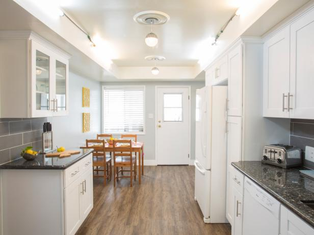 white eat in galley kitchen hgtv