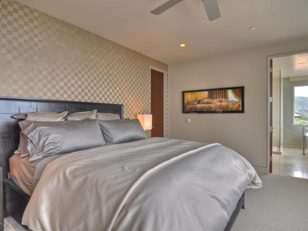Neutral Contemporary Master Bedroom With Wallpaper