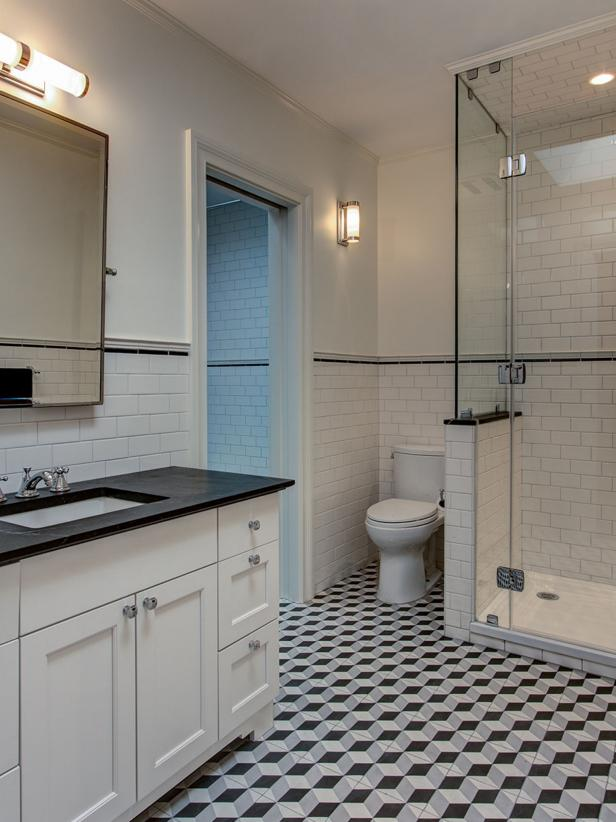 Black and White Transitional Bathroom With Geometric Tile Floor
