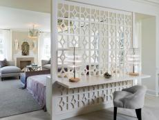 Traditional White Room Divider Between Bedroom and Desk