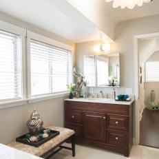 Peaceful Bathroom With Single Vanity