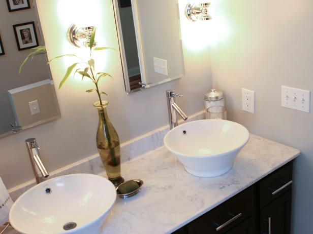 Small Bathroom Vanity With White Vessel Sinks