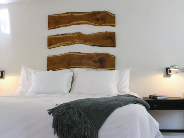 Bedroom With White Bedding and Salvaged Wood Headboard