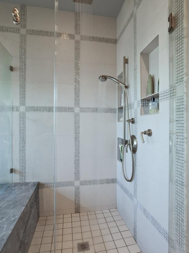 Gray and White Tiled Shower with Marble Bench