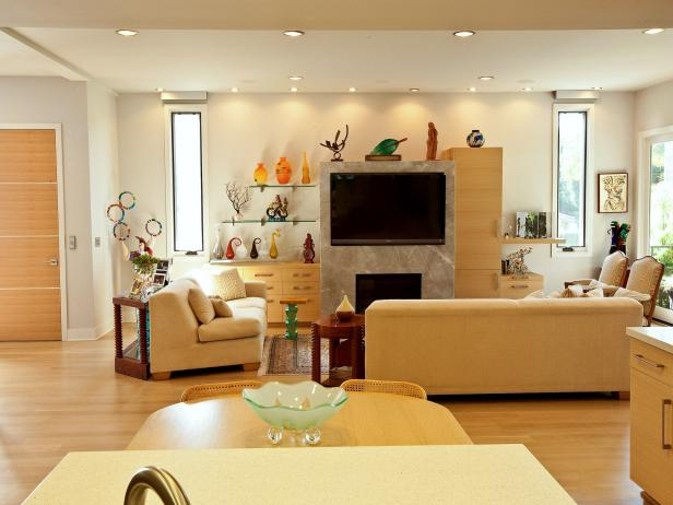 Modern Living Room With Custom Fireplace in Open Floor Plan