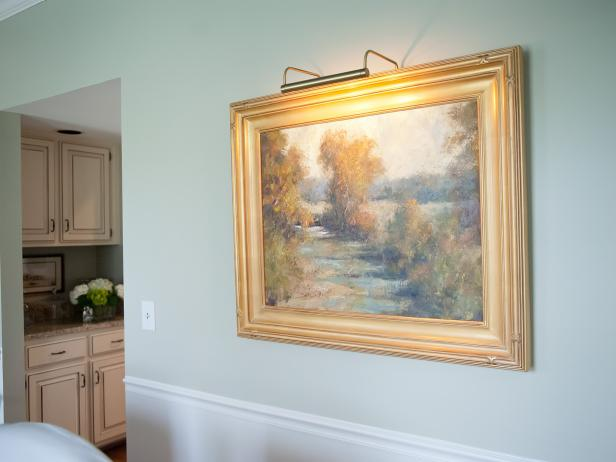 Art Painting with Gold Frame in Traditional Green Dining Room