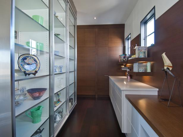 Contemporary Kitchen Office With Display Shelving