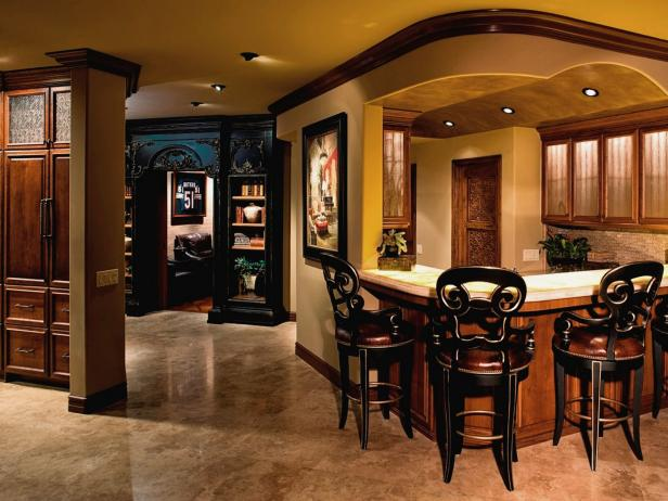 Kitchen Bar with Intricately Designed Barstools