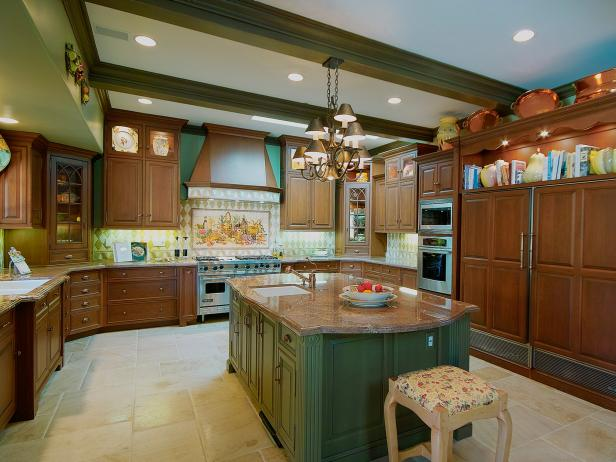 Green Traditional Kitchen With Center Island