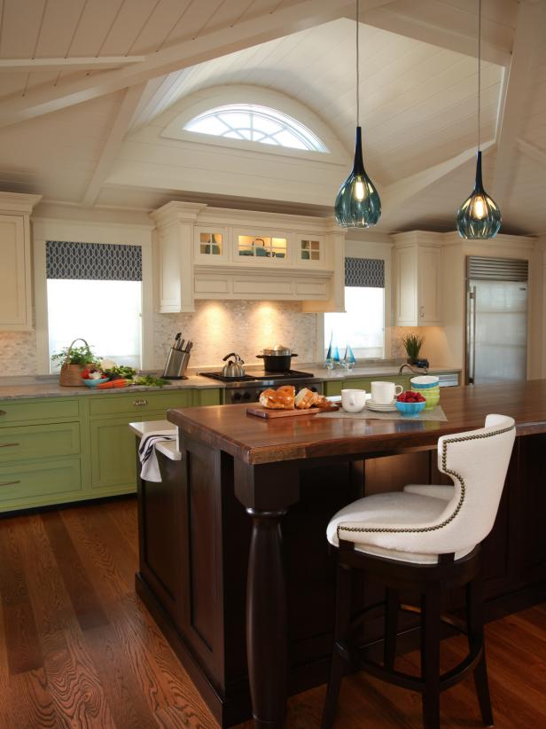 Transitional Kitchen Island and Paneled Ceiling Detail