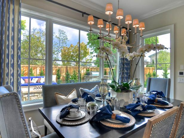 Dining Space With Blue and Neutral Accents