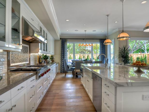 Spacious White Kitchen with Coastal Accents