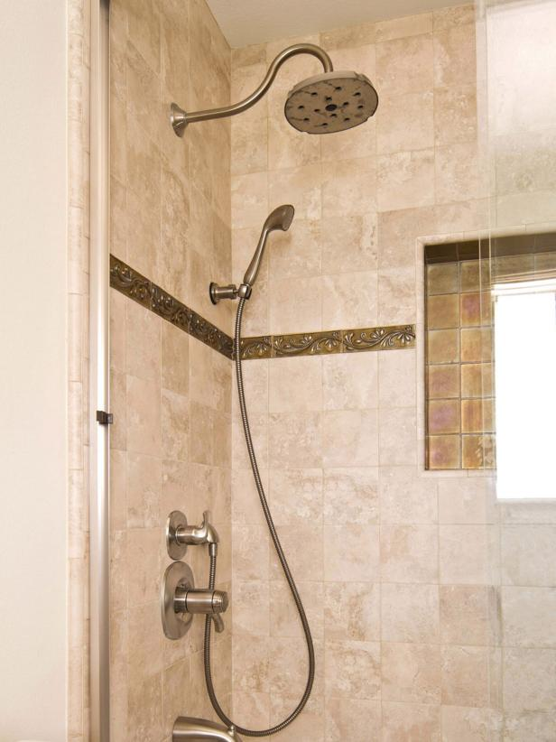 Neutral Shower with Rain Fixture and Custom Tile Work