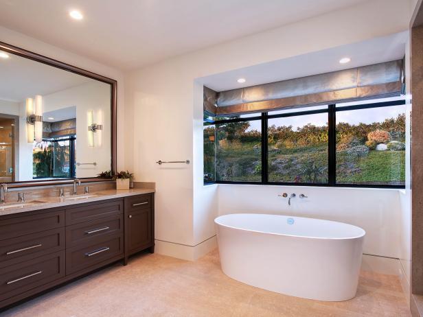 Contemporary Bathroom With Freestanding Bathtub