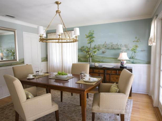 Sophisticated Blue Dining Room With Nautical Details