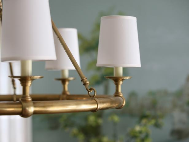 Brass Chandelier with Small White Shades