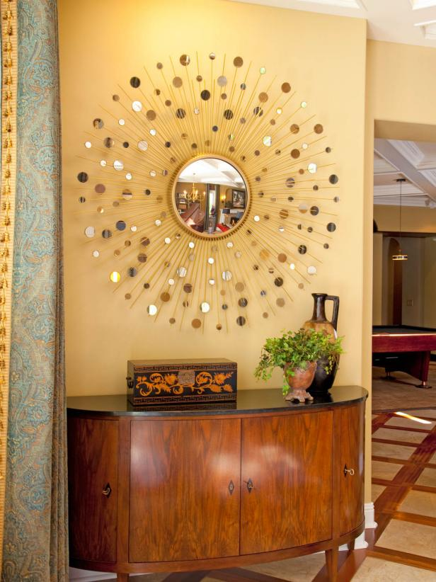 Hallway Console Table and Sunburst Mirror