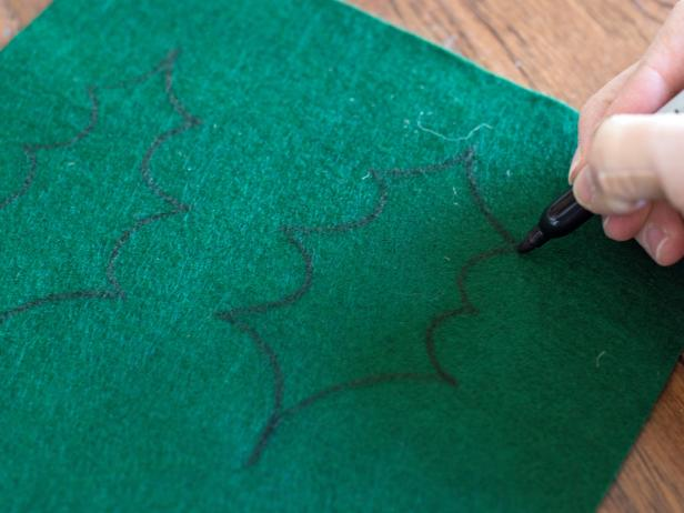 Drawing Holly Leaves Onto Green Felt