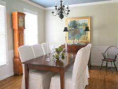 Green Traditional Dining Room With Grandfather Clock
