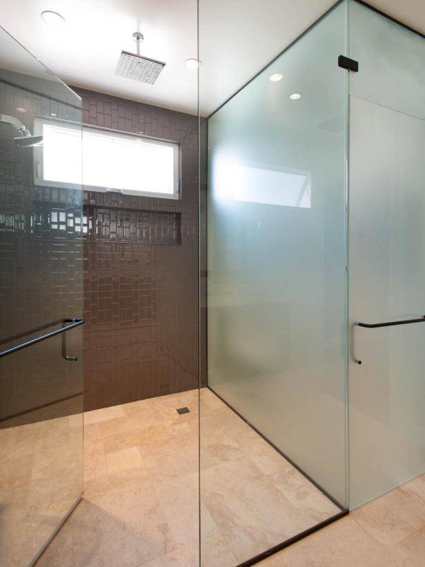 Modern Glass Master Bathroom Shower with Brown Tile and Marble Floor