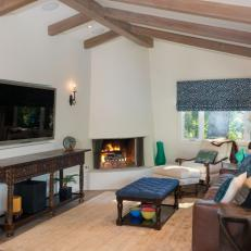 vaulted living room. Neutral Transitional Living Room With Beamed Vaulted Ceiling Photos  HGTV