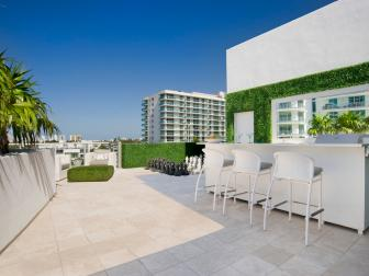 Contemporary White And Neutral Rooftop Deck And Bar
