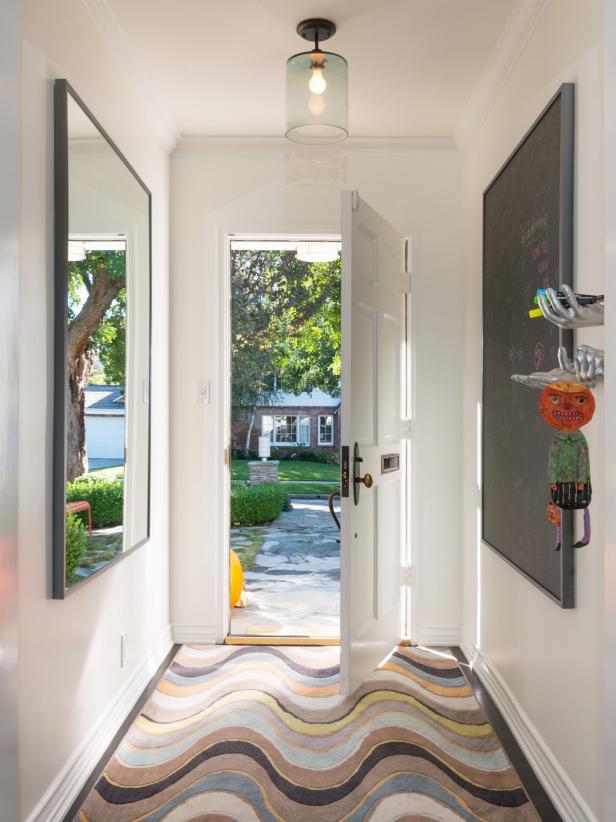 Custom Steel-Framed Mirror and Matching Chalkboard in Entryway