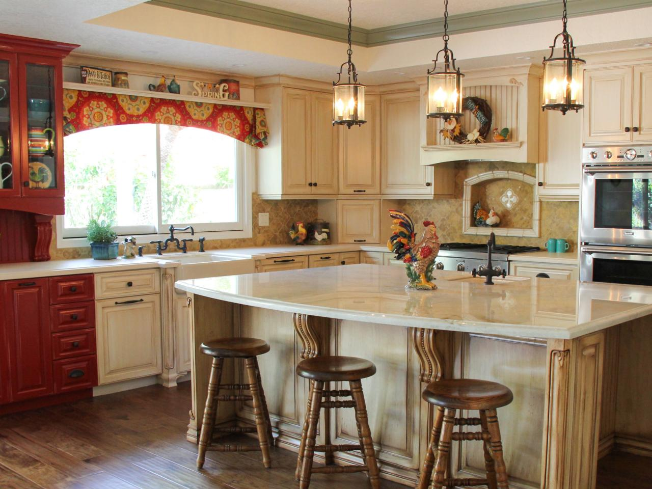 Country kitchen with red and white cabinets hgtv for Country kitchen cabinets