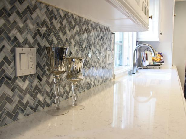 Blue and Gray Chevron Mosaic Kitchen Backsplash.