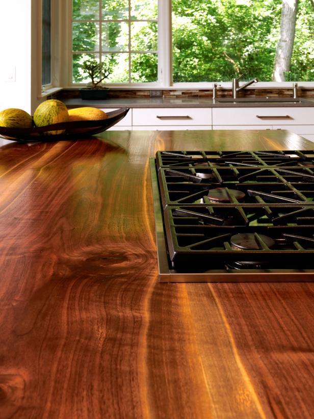 Gas Range Top In Handmade Walnut Kitchen Countertop