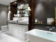High-Tech Gray Contemporary Bath With Remote Control Toilet