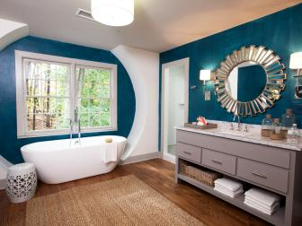 Contemporary Turquoise Bathroom With Modern Bathtub